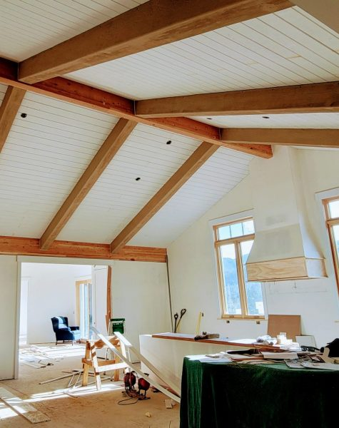 kitchen with custom faux wood beams